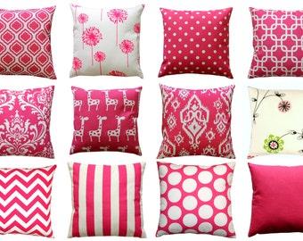 Hot Pink European Sham, Candy Pink Euro Sham, Decorative Pillow Cover, 26x26 Zippered Pillow, Pink Cushion Cover- Girls Room Decor- Dorm