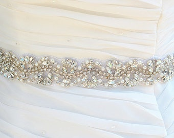 SALE Wedding bridal crystal pearl sash , belt , rhinestone & pearl belt