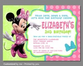 Minnie Mouse Invitations, Minnie Mouse Bowtique Invitation, Minnie Mouse Birthday Invitations, Minnie Bowtique Invite, Photo Option