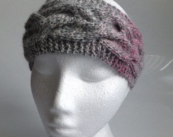 Ladies Pink & Grey Marble Cable Knit Ear Warmer Headband. Hand Knitted in Scotland