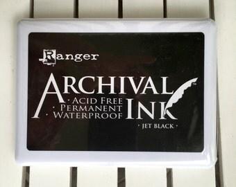 "Ranger Archival Ink pad in Black, Large size 6.75X5"", Acid Free, Permanent, Waterproof, cards, planners, scrapbooks, journaling, multimedia"