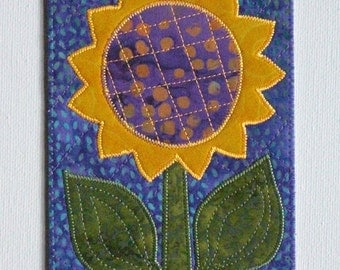 Sunflower Birthday Mom Friend Card -MADE TO ORDER- Her Him Summer Frame Gift Thank You Housewarming Room Decor Fabric Postcard Appliqued 4x6