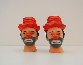 Vintage hobo clown head, small rubber heads for dollmaking, sad clown hobo doll parts