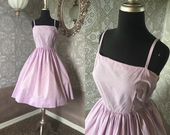 Vintage 1950's 60's Purple and White Gingham Cotton Sundress XS