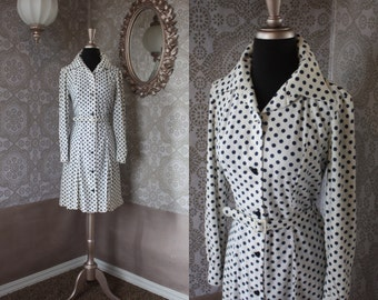 Vintage 1960's White and Blue Polka Dot Dress with Heart Buttons Medium