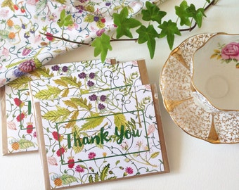Thank You Card - A2 - Watercolour Note Card with Envelope
