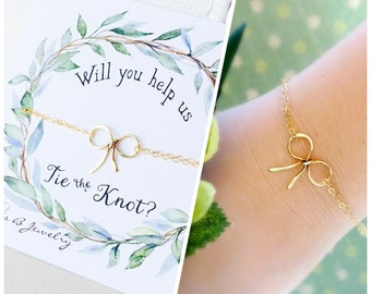 Bow bracelet, Bridesmaid gifts, Bridal jewelry, Silver bow jewelry, Tie the knot card, wedding jewelry, sterling silver