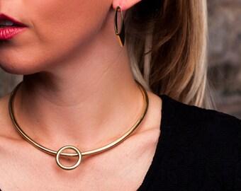 Brass Choker | Gold Choker | Geometric Necklace