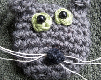 Crochet Pattern for Sooty the Cat Brooch