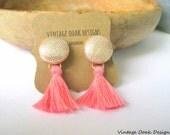 Tassel Button Earrings, Button Studs, Button Jewelry,Fabric Button Earrings,Tassel Earrings, Tassel Studs,Fabric Jewelry, Textile  Earrings
