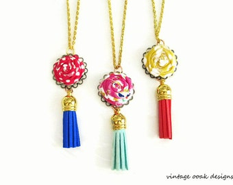 Boho Flower Tassel Necklace, Boho Necklace,Boho Flower Statement Necklace,Boho Jewelry,Tassel Jewelry,Tassel Necklace,Fabric Tassel Necklace