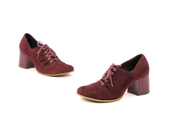 Vintage 1960's Dark Plum Purple Leather Suede Mod Baby Doll Eyelet Lace Up Chunky Heel Shoes 7