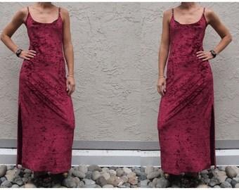 90s grunge spaghetti strap red velvet dress full length maxi XS S strappy open back knee slit 1990s music festival coachella