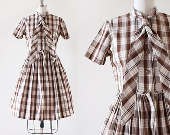 Brown Plaid 1950s Dress / Necktie Dress / 1950s Cotton Dress / Cotton Day Dress / 1950s Pleated Skirt Dress / Extra Small Small 26 Waist
