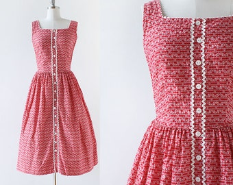 1950s Stripe and Floral Print Dress / 1950s Red and White Cotton Day Dress / 1950s Cotton Dress / Day Dress / Extra Small XS 25 Waist