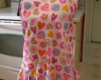 Plus Size Hearts and Flowers Apron