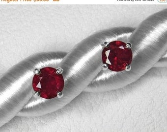 Mozambique Ruby Earrings in Silver or Gold, 5 mm