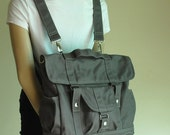 NEW YEAR SALE 30% - Pico2 Backpack in Wax Dark Grey Unisex / Laptop / Shoulder Bag / Satchel / Rucksack / Messenger Bag / Diaper Bag