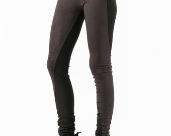 Summer Sale SLU twisted leather leggings skinny pants tights / Stretch faux suede - jersey combo / Brown / extra long