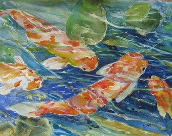 Watercolor Painting  Koi Pond original art 15 x 11 Fish Painting water 16 x20 Carlie DeGaetano