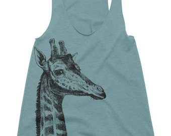 Women's Racerback Tank - Giraffe - Womens Athletic Workout Tank - Running Tank - Giraffe Gift Tank Top Gift Ideas Gifts For Her Girlfriend