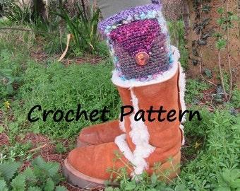 Crochet PATTERN Pocket Boot Toppers PDF Legwarmers Boot Cuffs DIY Leg Warmers Socks Festival Clothes Pixie Clothing Faery Elf Fairy Bohemian