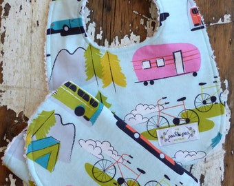 Bib & Burp Cloth Set - Camp Site Retro Campers - Baby Boy or Girl - Gender Neutral - Baby Gift Set