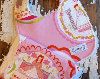 Bib & Burp Cloth Gift Set - Fairytale Princess - Baby Girl - Cinderella, Rupunzel, Princess and the Pea