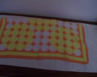 "1970s ECHO Scarf Silk Orange Yellow Dots Vintage Polka Dot Contemporary Ladies Scarf 22"" Square"