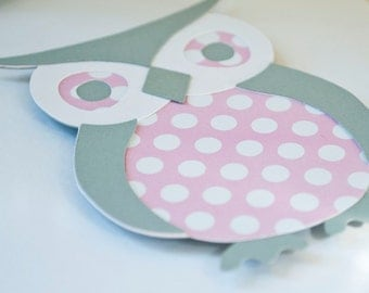 Owl Baby Shower Invitations Girl Thank You Notes Pink and Gray Grey Polka Dots