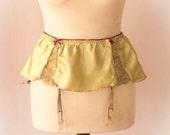 "Vintage Lime Green And Plum Satin Garter, Suspender Belt. Waist Circumfrance: - 26 - 32"""