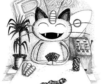 Meowth- A3 pokemon inspired art print by Jon Turner- cute geeky artwork- FREE WORLDWIDE SHIPPING