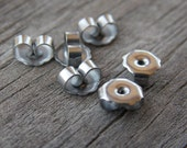 50 pairs Steel Earring Backs 304 Surgical Stainless Steel 6mm