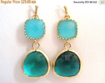 SALE Blue Earrings, MInt Blue Gold Green Earrings, Glass Earrings, Wedding, Bridesmaid Earrings, Bridal Earrings Jewelry, Bridesmaid Gifts