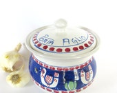 Vietri Campagna Chicken Blue with Red Dots Garlic Keeper - Italian Pottery - Mint Condition