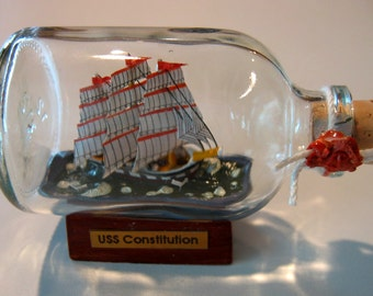 Ship in a Bottle- The USS CONSTITUTION Excellent with Stand