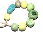 Ceramic Beads Set & Word Quote Bead Stoneware Handmade Lemon Mint