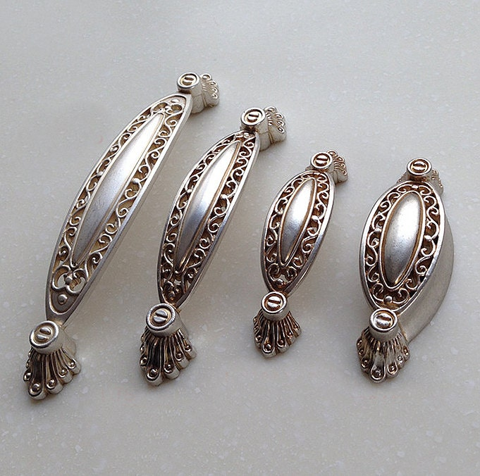 "5"" 3.75"" 2.5"" French Style Shabby Chic Dresser Pulls Handles / Antique Silver Kitchen Cabinet"