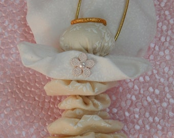 Angel Fairy Ornament in Off White with White Flowers