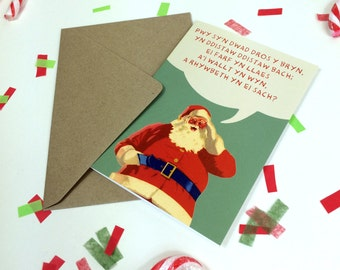Welsh Christmas Song Lyrics Santa Sion Corn Eco Friendly Greeting Card