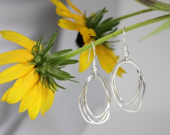 Organic ovals earring, sterling silver hoop, chandelier earring, eco friendly, bridal gift, bridesmaid gift