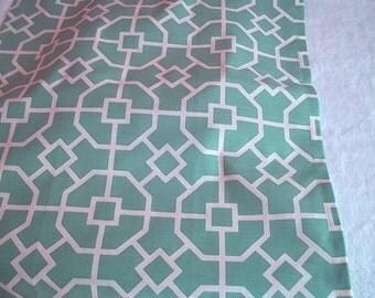 Teal and Ivory  Lattice Fabric Tea Towel