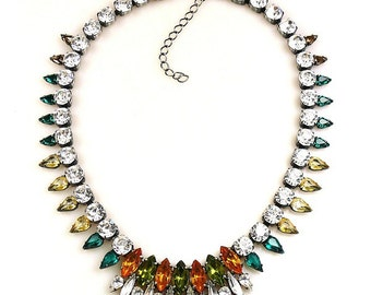 Luxury Swarovski Navette Rhinestone Necklace earth tones  - GYPSY PRINCESS
