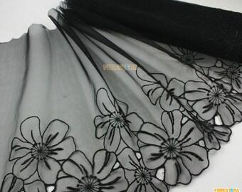 Terylene Lace Trim Black Tulle Lace Trim Floral Embroidery Lace Trim 25cm Width -- 2 Yards (LACE223)