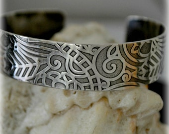 Sterling patterned cuff bracelet.  15mm (.60 inch) wide.  sized to fit