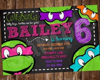 Girl Turtle Birthday Invitation (NT10)