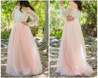 Blush Pink Skirt - Full Length, Floor length Tulle Skirt, Extra Full Skirt- Bridesmaid dress, Engagement Dress
