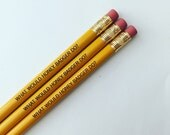 what would honey badger do pencil set 3 three engraved bright yellow pencils. honey badger.