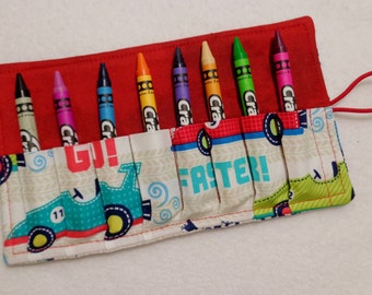Race Car fabric print Crayon Roll Up. Ready to Ship