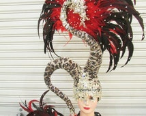 Magician Serpent Queen Crystal Feather Showgirl pageant Headdress